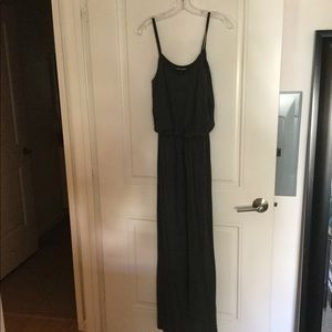 Grey maxi dress with defined waist